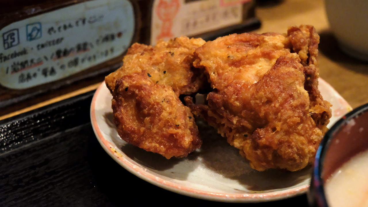 Hunks of fried chicken.