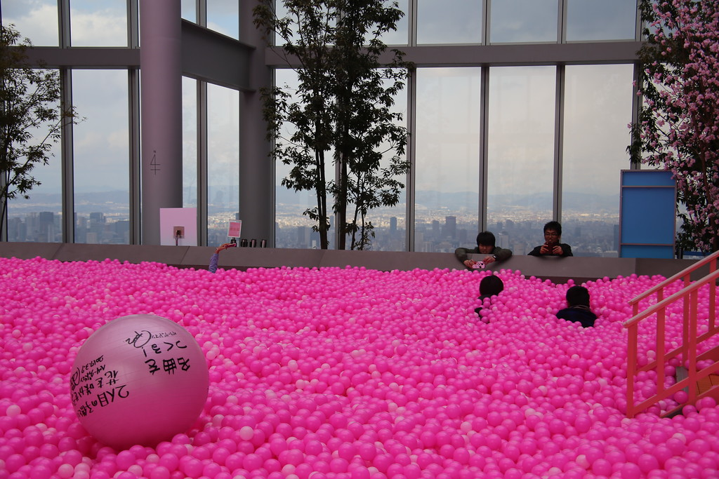 The ball pit set for the 3rd-anniversary celebrations.