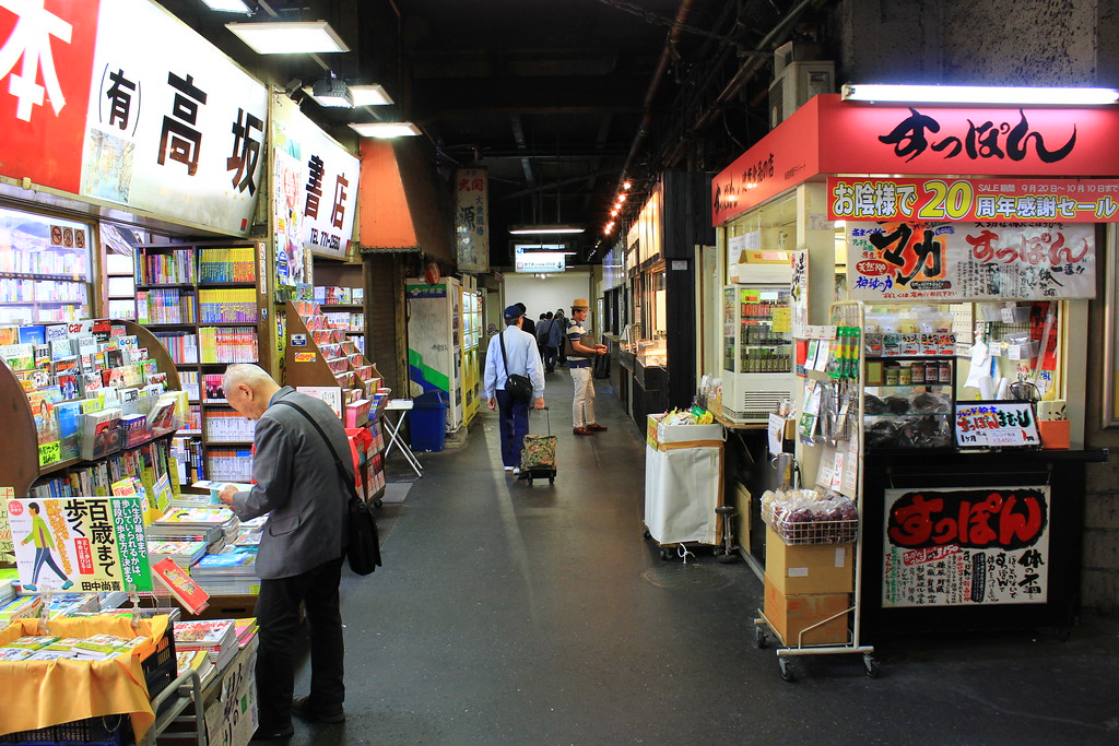 Old bookstores and food outlets outside the train station