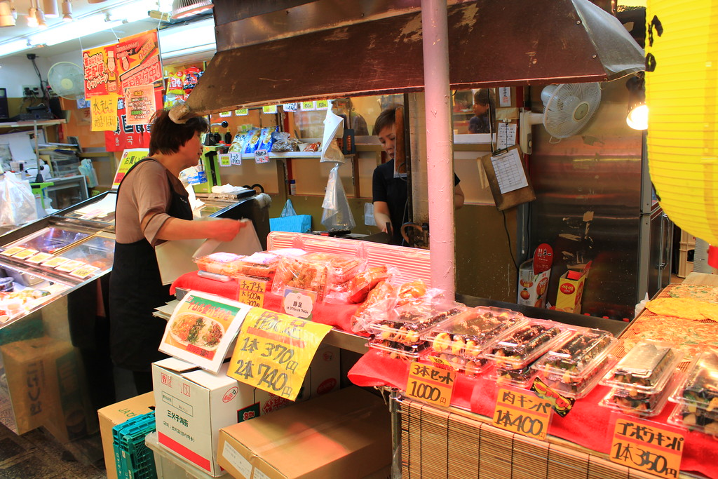 Small vendors selling Korean pickled vegetables known as Kimchi