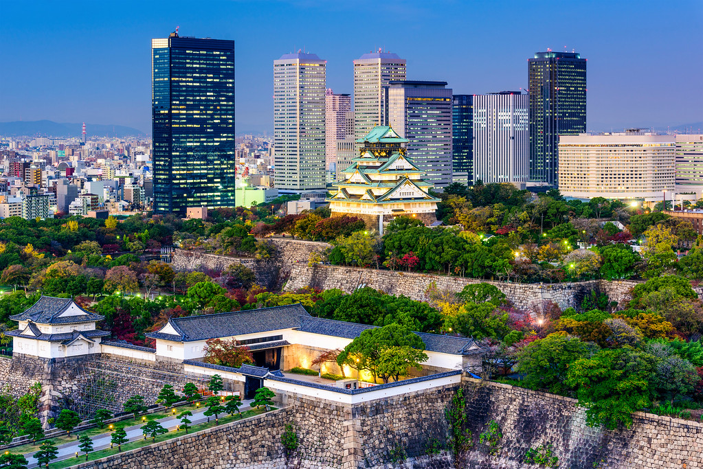 Osaka Castle in evening