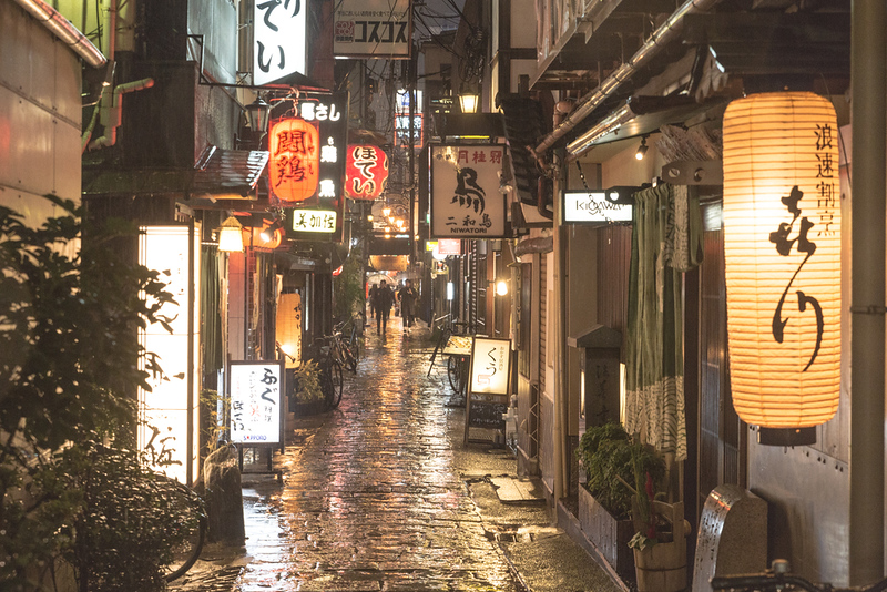 Hozenji Yokocho in the rain