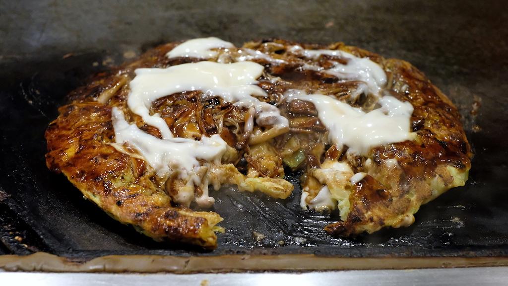 Mayonnaise-slathered gluten-free okonomiyaki.