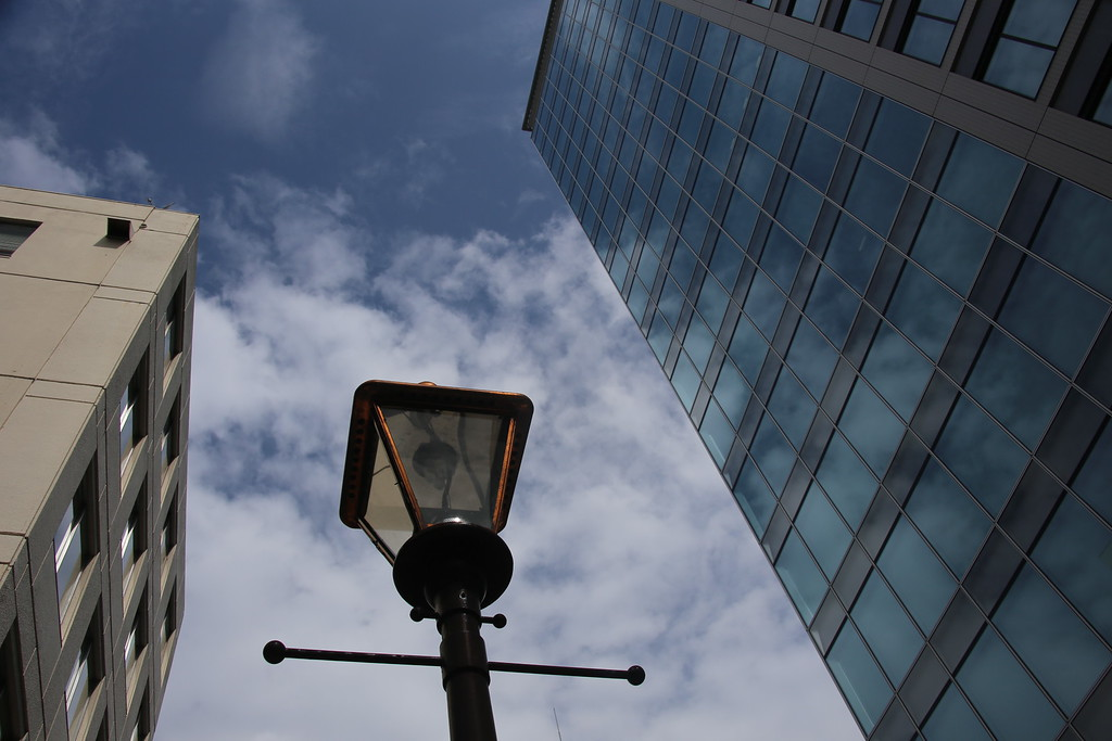 Street light with skyscrapers