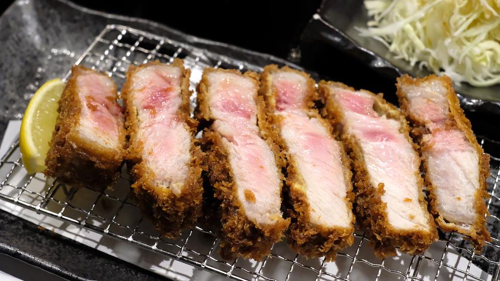 Close-up of a pork loin cutlet.