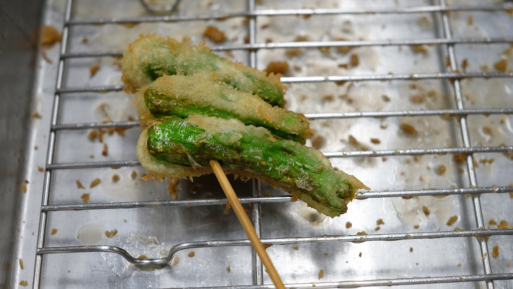 Shishito kushikatsu with just enough batter.