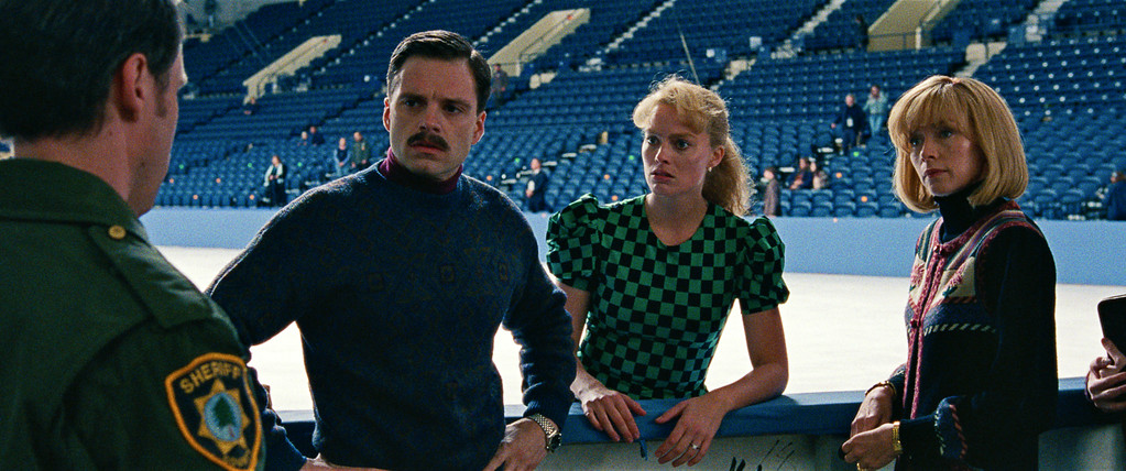 ". This image released by Neon shows Sebastian Stan as Jeff Gillooly, from left, Margot Robbie as Tonya Harding and Julianne Nicholson as Diane Rawlinson in a scene from ""I, Tonya.\"" Robbie was nominated for an Oscar for best actress on Tuesday, Jan. 23, 2018. The 90th Oscars will air live on ABC on Sunday, March 4. (Neon via AP)"