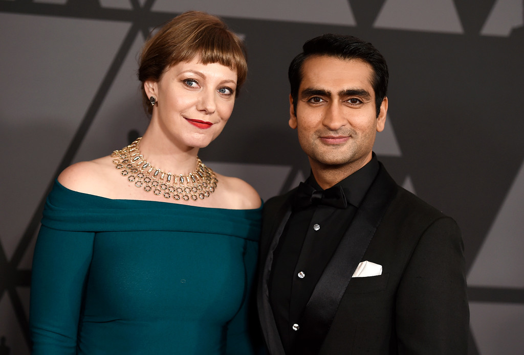 ". FILE - In this Nov. 11, 2017 file photo, Kumail Nanjiani, right, and Emily V. Gordon arrive at the 9th annual Governors Awards in Los Angeles. The couple were nominated for an Oscar for original screenplay for ""The Big Sick,\"" on Tuesday, Jan. 23, 2018. (Photo by Jordan Strauss/Invision/AP, File)"