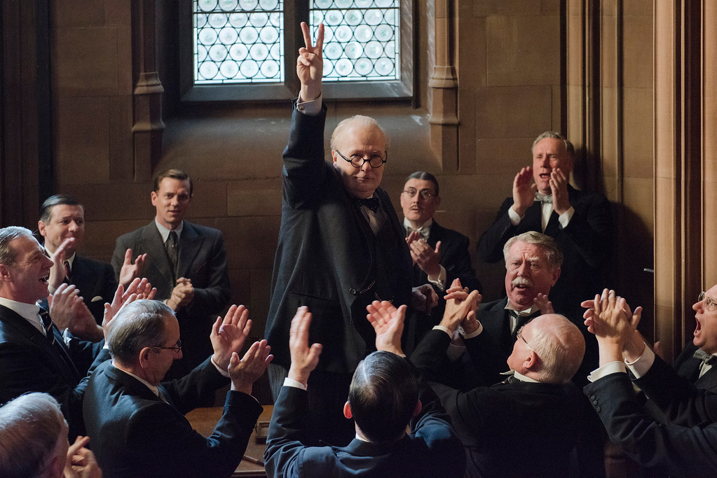". This image released by Focus Features shows Gary Oldman as Winston Churchill in a scene from ""Darkest Hour.\"" The film was nominated for an Oscar for best picture on Tuesday, Jan. 23, 2018. The 90th Oscars will air live on ABC on Sunday, March 4. (Jack English/Focus Features via AP)"