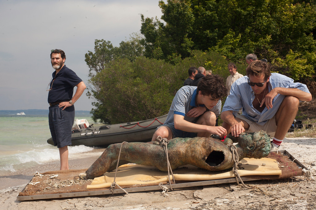 ". This image released by Sony Pictures Classics shows, from left, Michael Stuhlbarg, Timothee Chalamet and Armie Hammer in a scene from ""Call Me By Your Name.\"" The film was nominated for an Oscar for best picture on Tuesday, Jan. 23, 2018. The 90th Oscars will air live on ABC on Sunday, March 4. (Sony Pictures Classics via AP)"