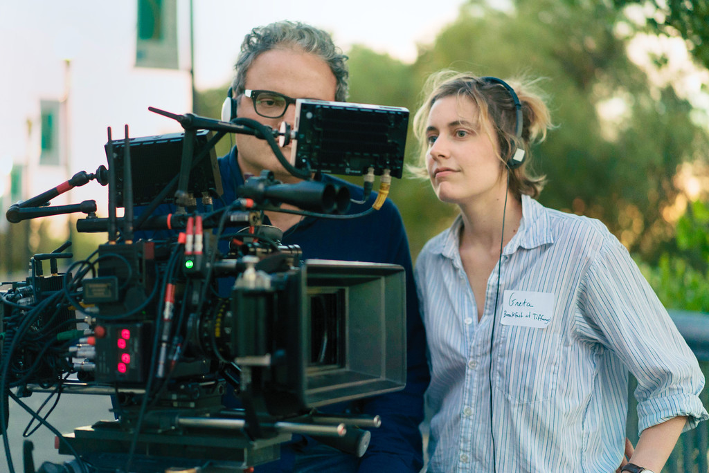 ". This image released by A24 Films shows director Greta Gerwig on the set of ""Lady Bird.\"" Gerwig was nominated for an Oscar for best director, Tuesday, Jan. 23, 2018. The 90th Oscars will air live on ABC on Sunday, March 4.  (Merie Wallace/A24 via AP)"