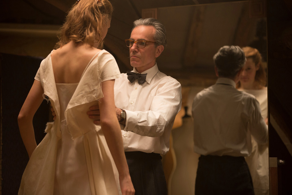 ". In this image released by Focus Features, Vicky Krieps, left, and Daniel Day-Lewis appear in a scene from ""Phantom Thread.\"" The film was nominated for an Oscar for best picture on Tuesday, Jan. 23, 2018. The 90th Oscars will air live on ABC on Sunday, March 4. (Laurie Sparham/Focus Features via AP)"