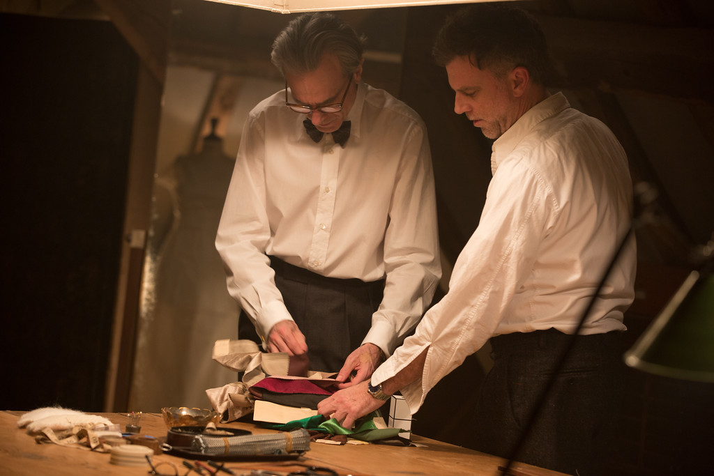 ". This image released by Focus Features shows actor Daniel Day-Lewis, left, and director Paul Thomas Anderson on the set of ""Phantom Thread.\""  Anderson was nominated for an Oscar for best director, Tuesday, Jan. 23, 2018. The 90th Oscars will air live on ABC on Sunday, March 4. (Laurie Sparham/Focus Features via AP)"