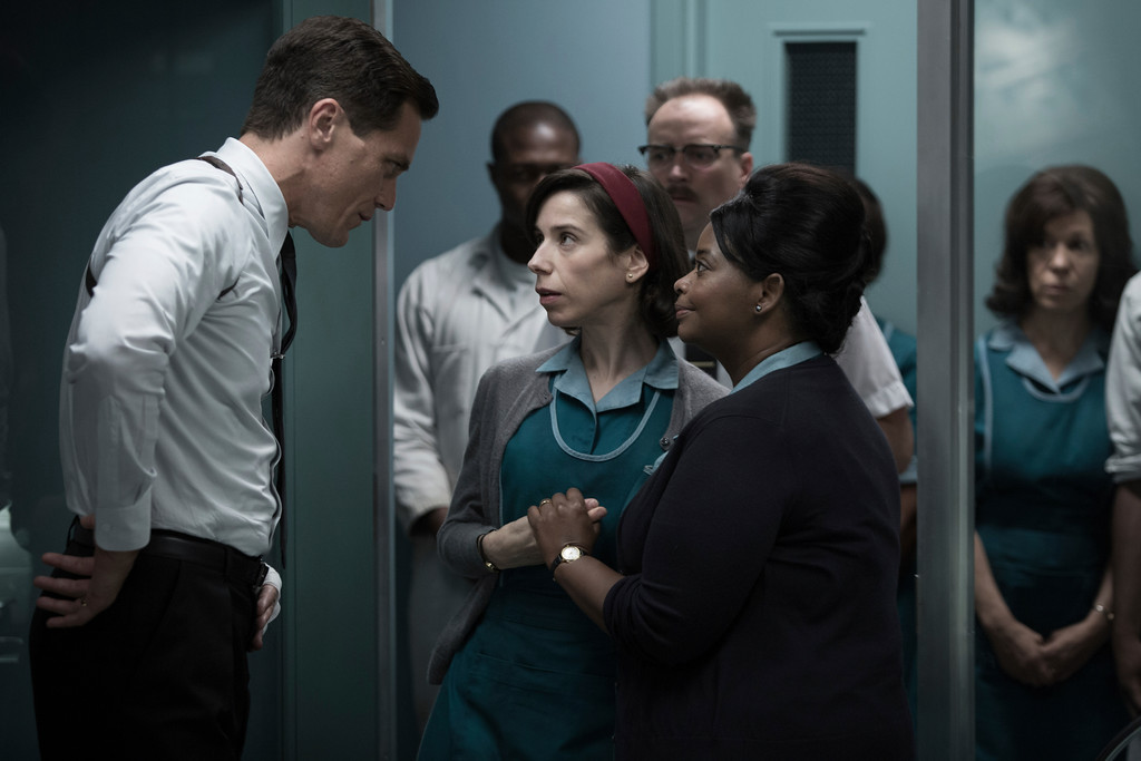 ". This image released by Fox Searchlight Pictures shows Michael Shannon, from left, Sally Hawkins and Octavia Spencer in a scene from the film, ""The Shape of Water.\"" Guillermo del Toro\'s Cold War fantasy tale will vie for the most nominations for the 90th annual Academy Awards. (Fox Searchlight Pictures via AP)"