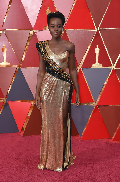 . Lupita Nyong\'o arrives at the Oscars on Sunday, March 4, 2018, at the Dolby Theatre in Los Angeles. (Photo by Richard Shotwell/Invision/AP)