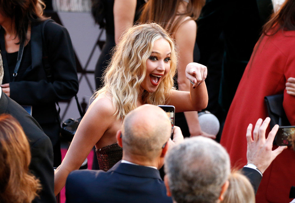 . Jennifer Lawrence arrives at the Oscars on Sunday, March 4, 2018, at the Dolby Theatre in Los Angeles. (Photo by Eric Jamison/Invision/AP)