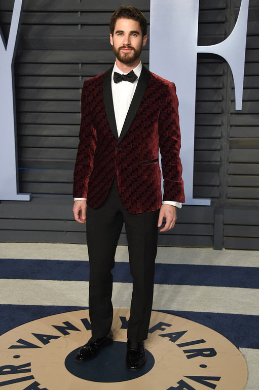 . Darren Criss arrives at the Vanity Fair Oscar Party on Sunday, March 4, 2018, in Beverly Hills, Calif. (Photo by Evan Agostini/Invision/AP)