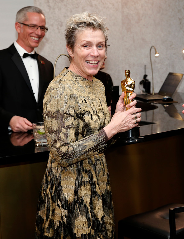 ". Frances McDormand, winner of the award for best performance by an actress in a leading role for ""Three Billboards Outside Ebbing, Missouri\"", attends the Governors Ball after the Oscars on Sunday, March 4, 2018, at the Dolby Theatre in Los Angeles. (Photo by Eric Jamison/Invision/AP)"