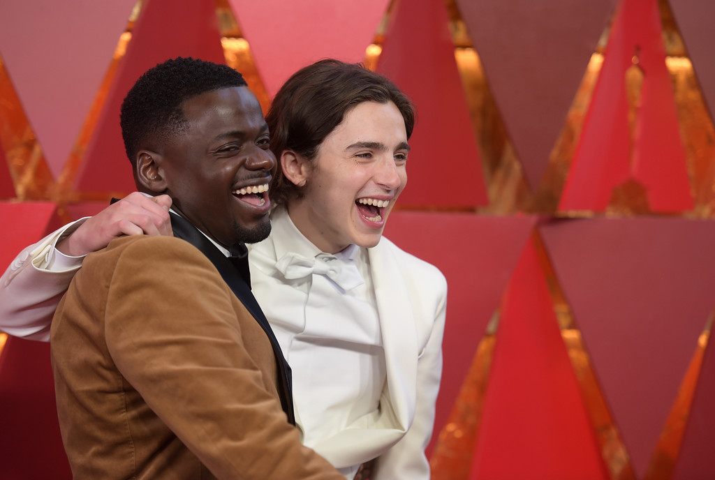 . Daniel Kaluuya, left, and Timothée Chalamet arrive at the Oscars on Sunday, March 4, 2018, at the Dolby Theatre in Los Angeles. (Photo by Richard Shotwell/Invision/AP)