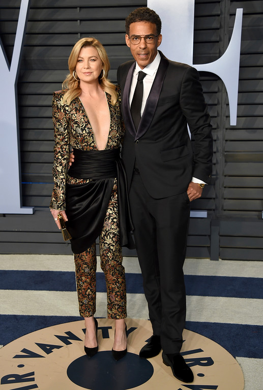 . Ellen Pompeo, left, and Chris Ivery arrive at the Vanity Fair Oscar Party on Sunday, March 4, 2018, in Beverly Hills, Calif. (Photo by Evan Agostini/Invision/AP)