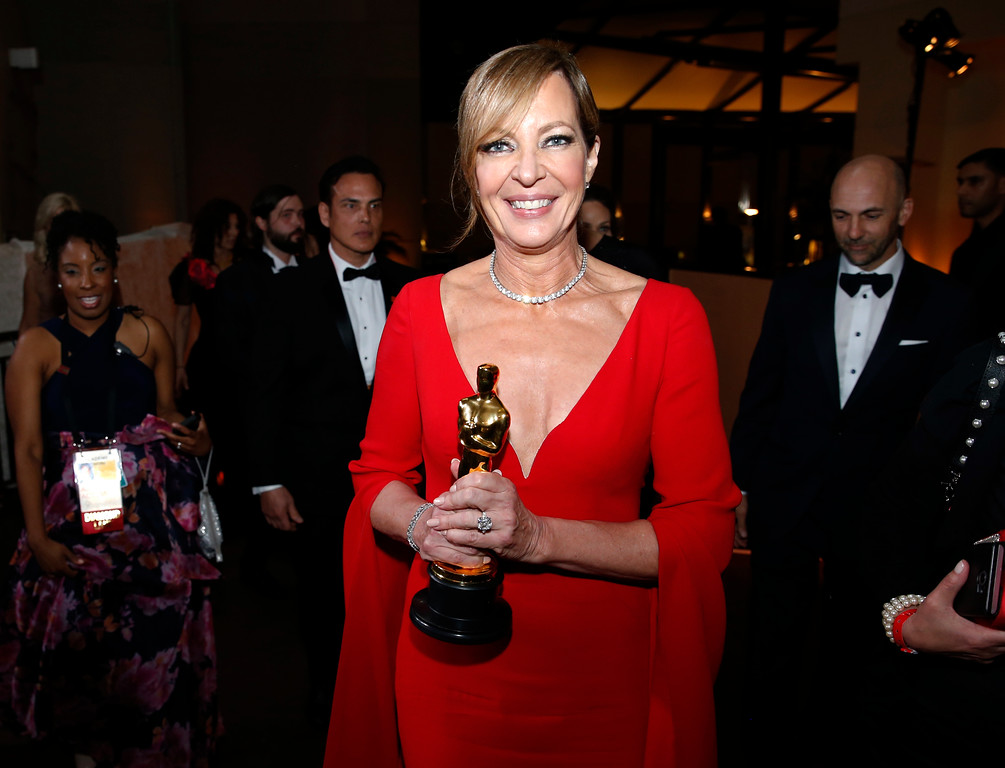 ". Allison Janney, winner of the award for best performance by an actress in a supporting role for ""I, Tonya\"", attends the Governors Ball after the Oscars on Sunday, March 4, 2018, at the Dolby Theatre in Los Angeles. (Photo by Eric Jamison/Invision/AP)"