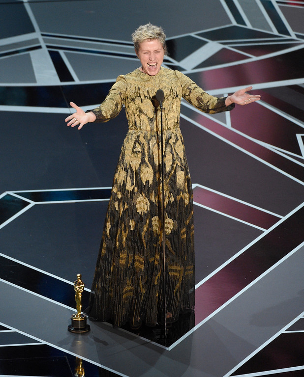 ". Frances McDormand accepts the award for best performance by an actress in a leading role for ""Three Billboards Outside Ebbing, Missouri\"" at the Oscars on Sunday, March 4, 2018, at the Dolby Theatre in Los Angeles. (Photo by Chris Pizzello/Invision/AP)"
