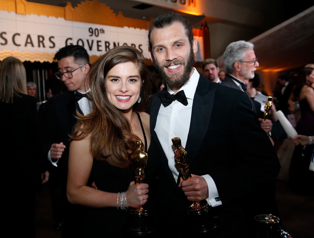 ". Rachel Shenton, left, and Chris Overton, winners of the award for best live action short for ""The Silent Child\"", attends the Governors Ball after the Oscars on Sunday, March 4, 2018, at the Dolby Theatre in Los Angeles. (Photo by Eric Jamison/Invision/AP)"