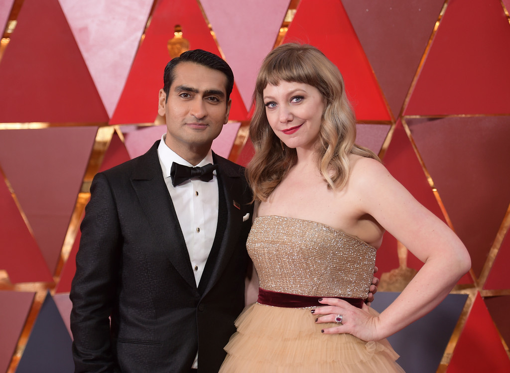 . Kumail Nanjiani, left, and Emily V. Gordon arrive at the Oscars on Sunday, March 4, 2018, at the Dolby Theatre in Los Angeles. (Photo by Richard Shotwell/Invision/AP)