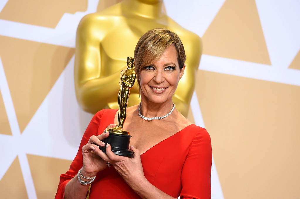". Allison Janney, winner of the award for best performance by an actress in a supporting role for ""I, Tonya\"", poses in the press room at the Oscars on Sunday, March 4, 2018, at the Dolby Theatre in Los Angeles. (Photo by Jordan Strauss/Invision/AP)"
