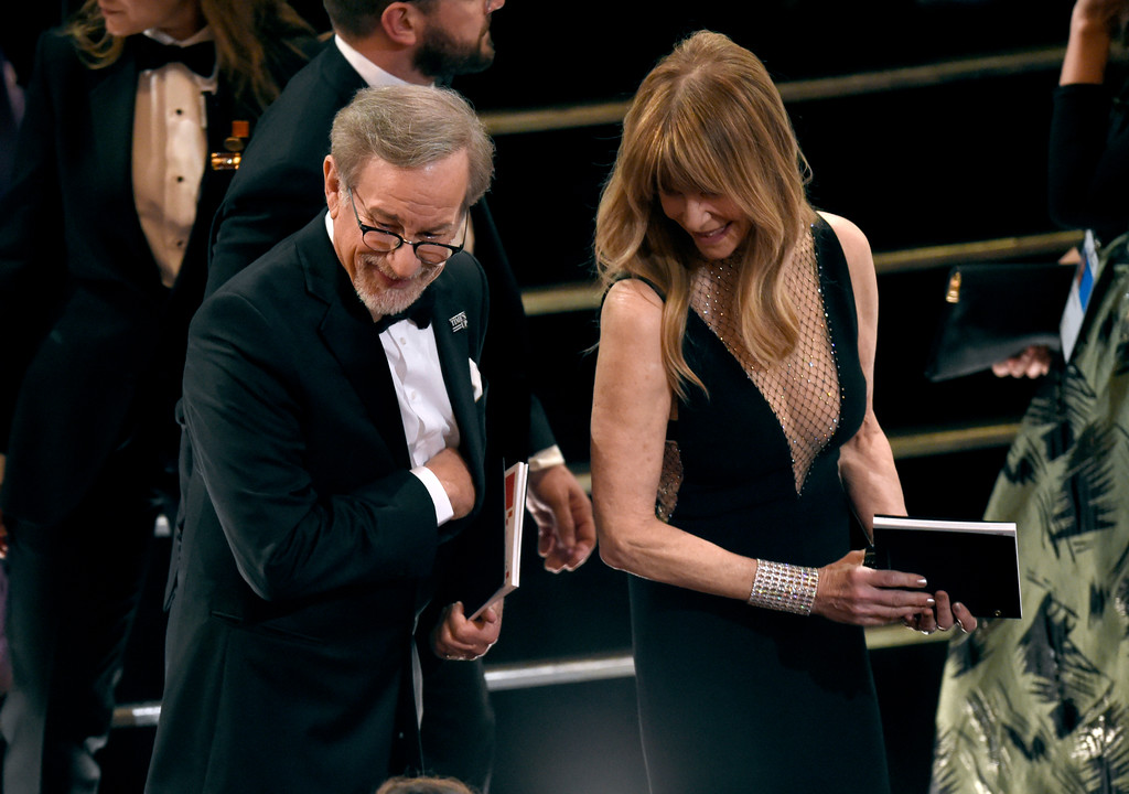 . Steven Spielberg, left, and Kate Capshaw appear in the audience at the Oscars on Sunday, March 4, 2018, at the Dolby Theatre in Los Angeles. (Photo by Chris Pizzello/Invision/AP)