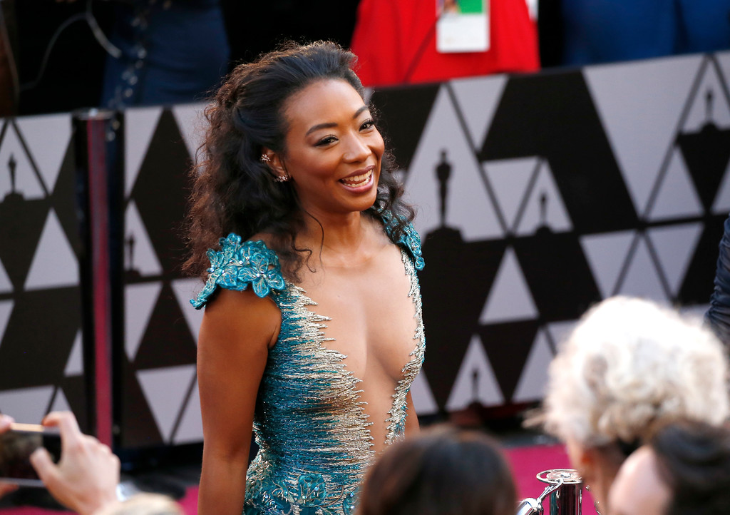 . Betty Gabriel arrives at the Oscars on Sunday, March 4, 2018, at the Dolby Theatre in Los Angeles. (Photo by Eric Jamison/Invision/AP)