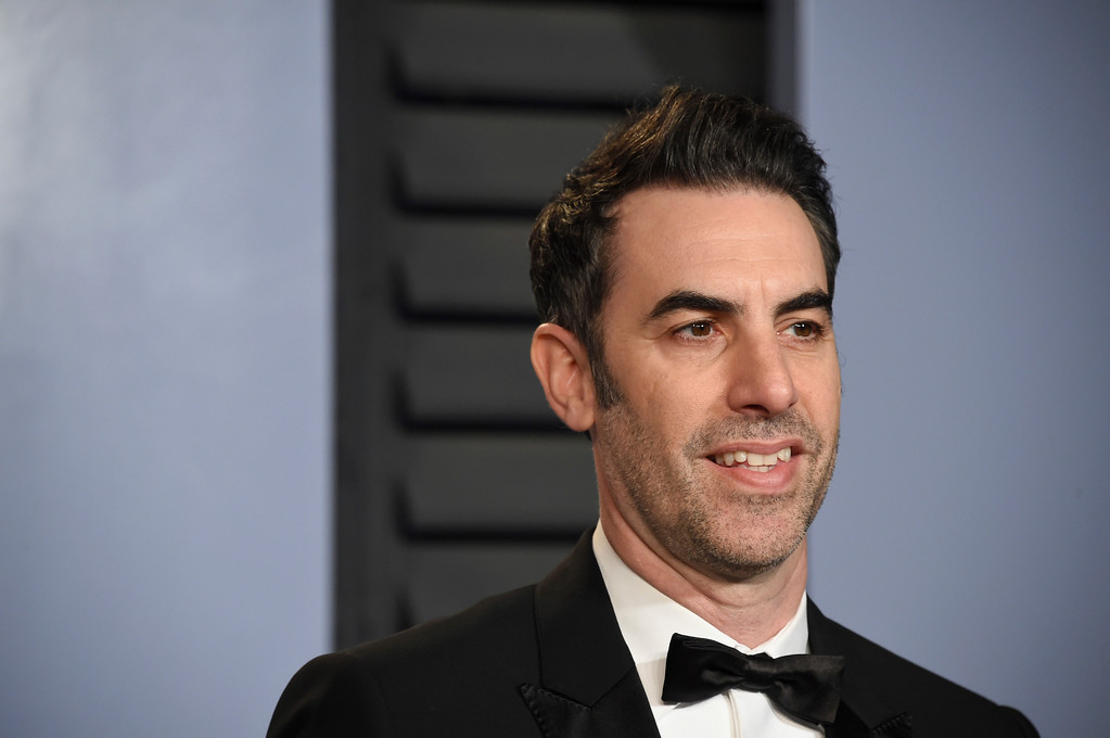 . Sacha Baron Cohen arrives at the Vanity Fair Oscar Party on Sunday, March 4, 2018, in Beverly Hills, Calif. (Photo by Evan Agostini/Invision/AP)