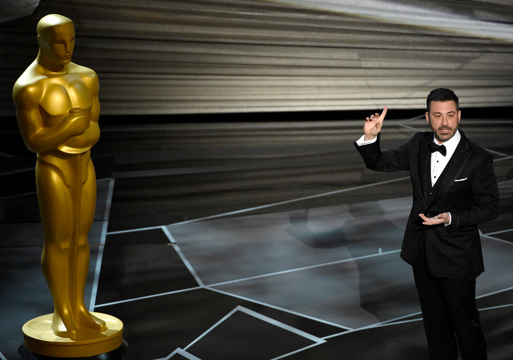 . Host Jimmy Kimmel speaks at the Oscars on Sunday, March 4, 2018, at the Dolby Theatre in Los Angeles. (Photo by Chris Pizzello/Invision/AP)