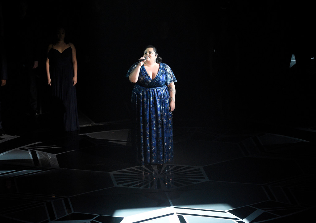 ". Keala Settle performs ""This Is Me\"" from \""The Greatest Showman\"" at the Oscars on Sunday, March 4, 2018, at the Dolby Theatre in Los Angeles. (Photo by Chris Pizzello/Invision/AP)"