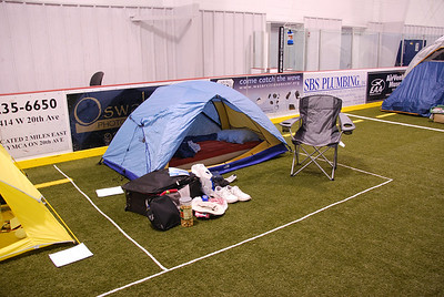 My campground on the indoor soccer field of the YMCA.