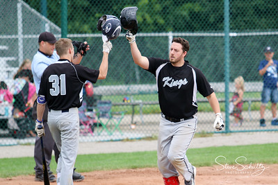 Travis Vanderwall celebrates after a homerun in the sixth inning in the first game of a double-header versus Oshkosh.