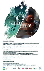 """Plakat wystawy """"Ptaki rzadkie i ginące"""" 2015 z podgorzałką Mateusza Matysiaka"""