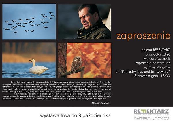 """Zaproszenie na wystawę """"Pomiędzy lasy, groble i szuwary"""" 2009"""