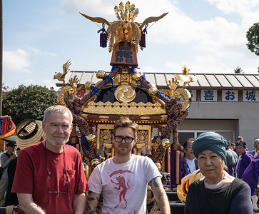Noko, Colin and Michael, with a Mikoshi
