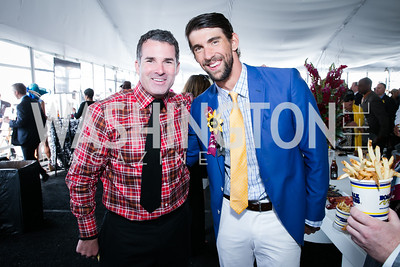 Kevin Plank, Michael Phelps. Photo by Alfredo Flores. 139th Running of the Preakness. Pimlico Race Course. May 17, 2014.