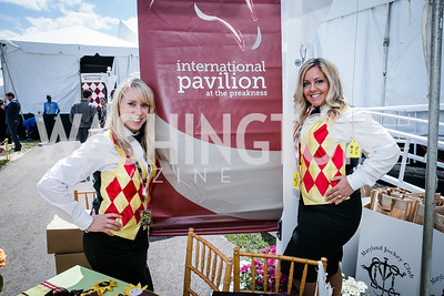 Amanda McCardle, Claire Wallace. Photo by Alfredo Flores. 139th Running of the Preakness. Pimlico Race Course. May 17, 2014.