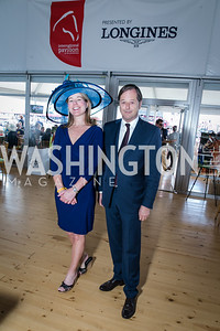 Jennifer Judkins, Charles Villoz. Photo by Alfredo Flores. 139th Running of the Preakness. Pimlico Race Course. May 17, 2014.