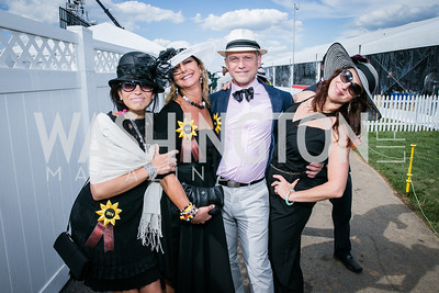 Alyssa Corcoran, Lisa Corcoran, Pablo Izquierdo, Elizabeth Caiata. Photo by Alfredo Flores. 139th Running of the Preakness. Pimlico Race Course. May 17, 2014.
