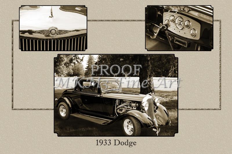 1933 Dodge Vintage Classic Car Automobile Photographs Fine Art Print Collectable Collage 4145.01