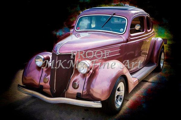 Painting 1936 Ford Classic Car or Automobile in Color  3121.02
