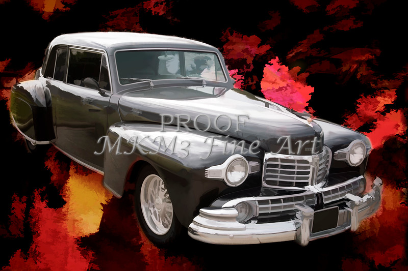 Painting 1948 Lincoln Continental Car or Automobile in Color  3141.03