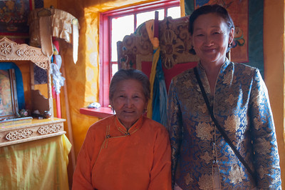 Mother and daughter, caretakers of little used monastery, on the site of ruins of monastery founded by Zanabazar.