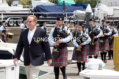 'LOS ANGLES PIPE BAND' serenading along the docks,