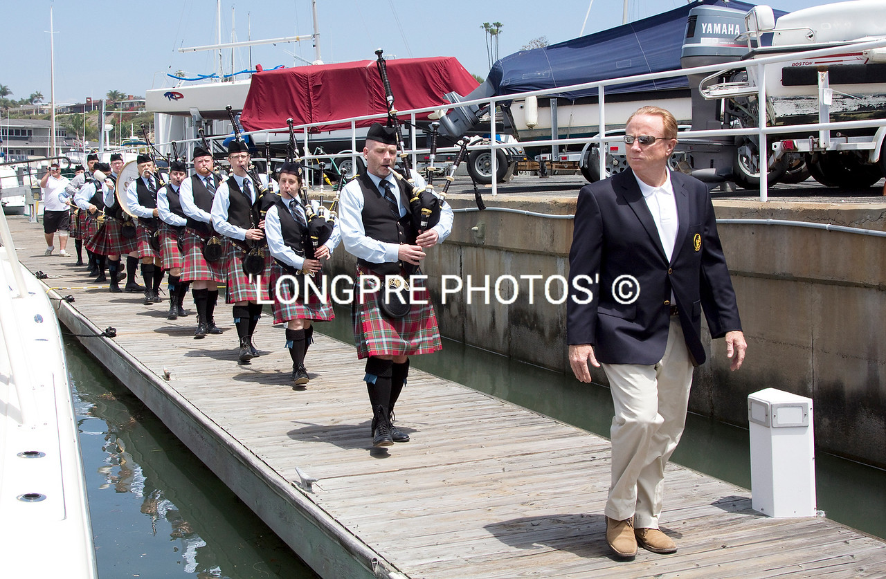 'LOS ANGLES PIPE BAND'  marching along docks to Ceremony Being lead by Michael Toerge.