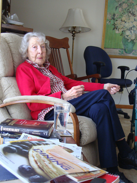 Mom at Bea and Dick's house, in her favorite chair, in March